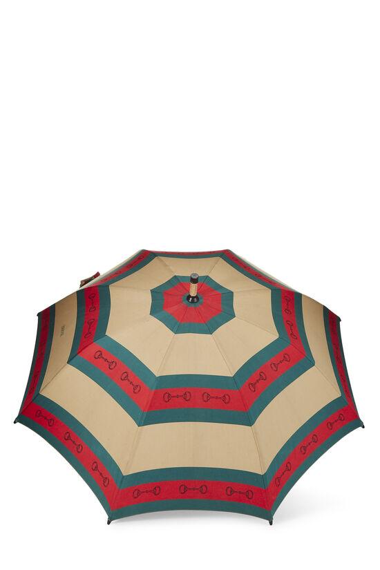 Brown & Web Striped Canvas Parasol, , large image number 2