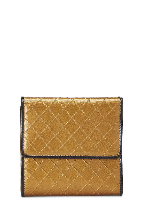 Gold Quilted Calfskin Compact Wallet, , large image number 2
