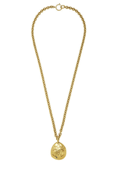 Gold Quilted 'CC' Necklace