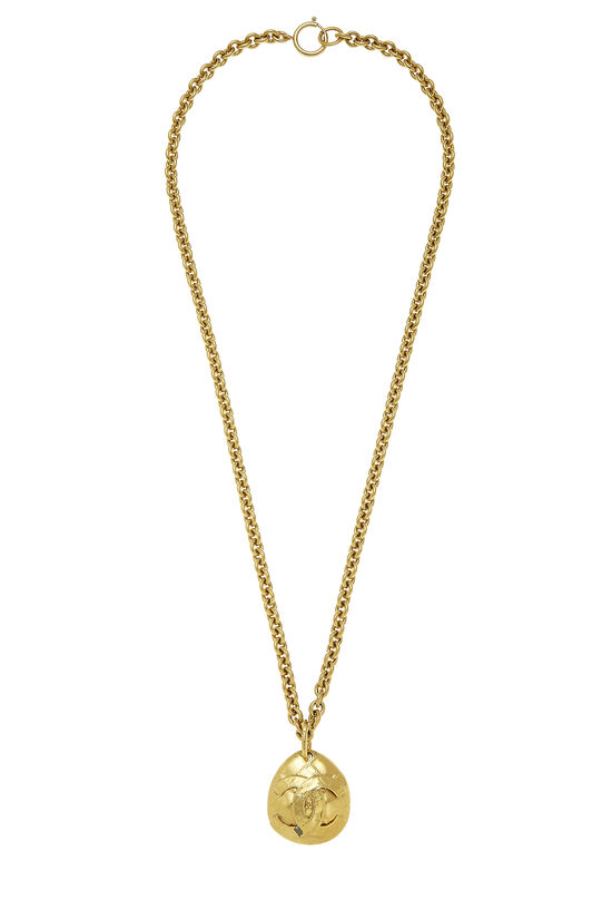 Gold Quilted 'CC' Necklace, , large image number 0