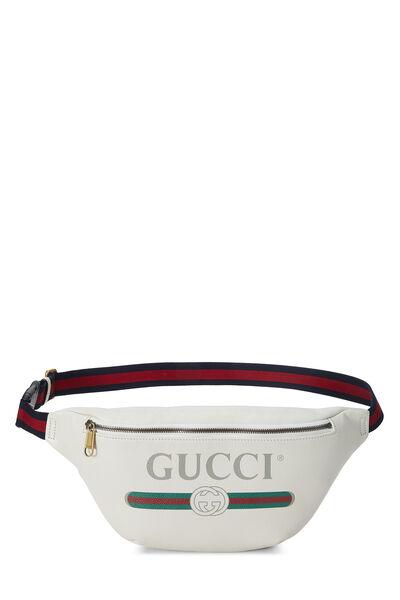 White Leather Logo Belt Bag Small