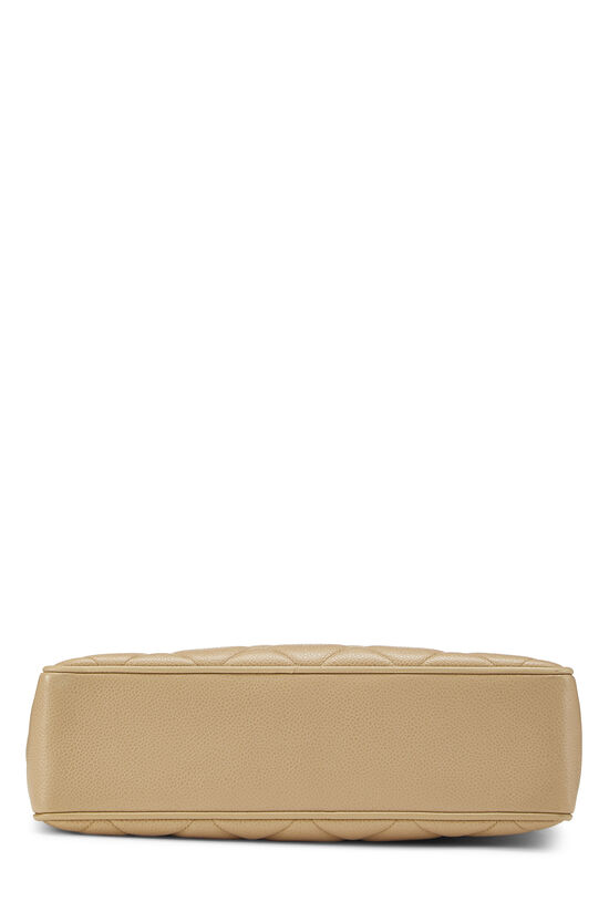 Beige Quilted Caviar Turnlock Tote Small, , large image number 4