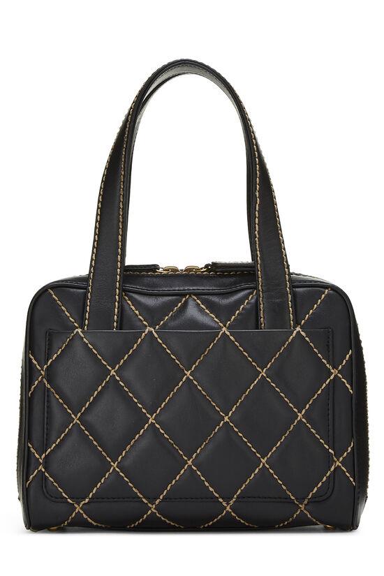 Black Leather Wild Stitch Boston Handbag, , large image number 3