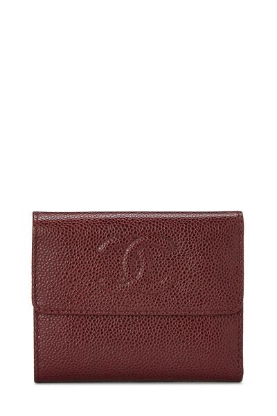 Burgundy Caviar CC Compact Wallet