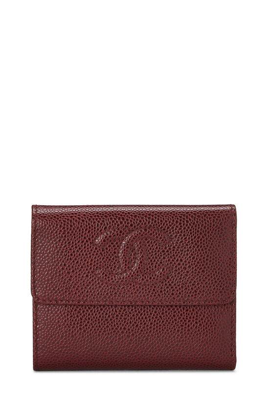 Burgundy Caviar CC Compact Wallet, , large image number 0
