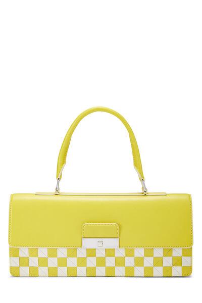 Yellow & White Damier Mosaic Envelope Clutch