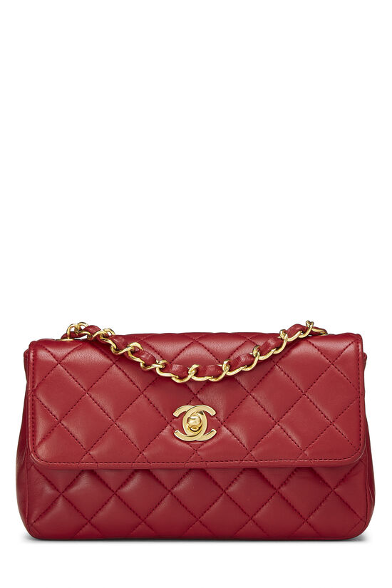 Red Quilted Lambskin Half Flap Mini, , large image number 0