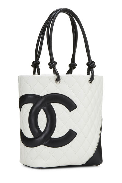 White Quilted Calfskin Cambon Tote Small, , large