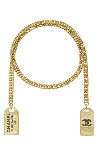 Gold Cambon Tag Wrap Necklace