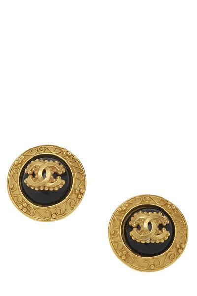 Gold & Black Filigree 'CC' Round Earrings