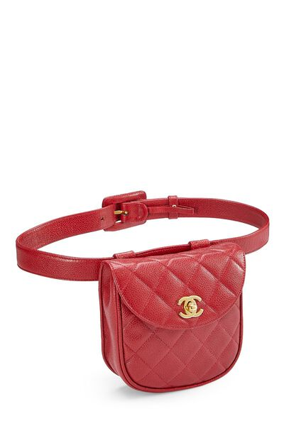 Red Quilted Caviar Belt Bag 32, , large