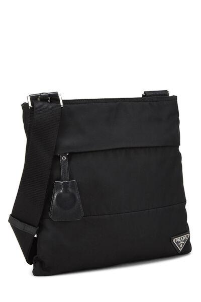 Black Nylon Shoulder Bag, , large