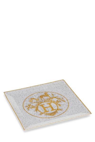 Gold Porcelain Mosaique au 24 Square Plate, , large