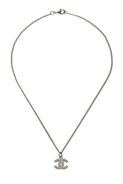Silver Crystal 'CC' Necklace Small
