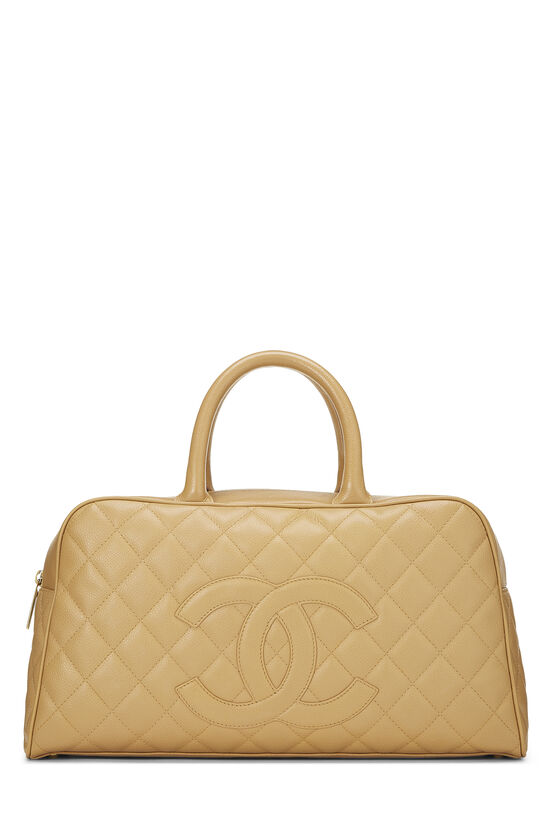 Beige Quilted Caviar Bowler Small, , large image number 0