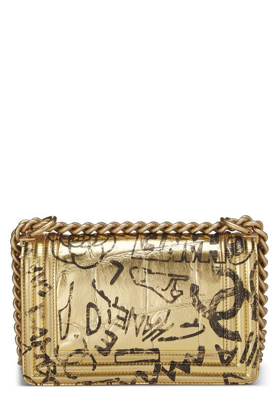 Paris-New York Gold Embossed Graffiti Boy Bag Small, , large image number 3