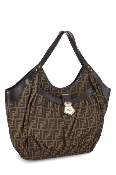Brown Zucca Canvas Handbag Large, , large