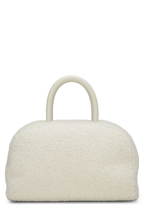 White Shearling Coco Bowling Bag, , large image number 3