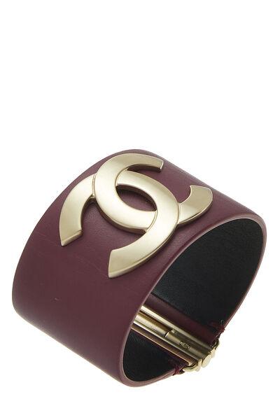 Purple Leather 'CC' Cuff