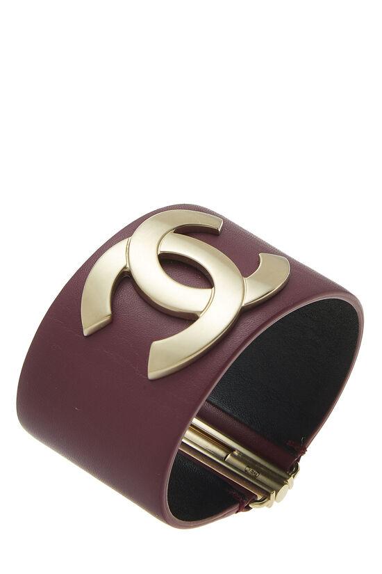 Purple Leather 'CC' Cuff, , large image number 0