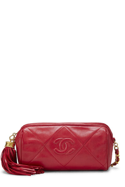 Red Quilted Lambskin Barrel Mini