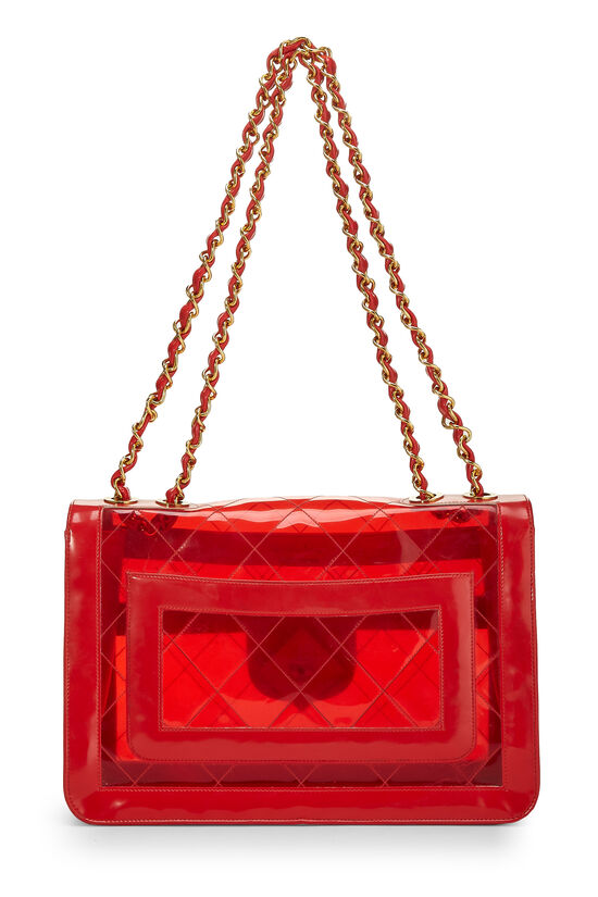Red Quilted Vinyl Half Flap Maxi, , large image number 3
