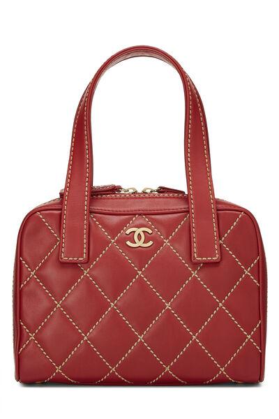 Red Leather Wild Stitch Boston Handbag