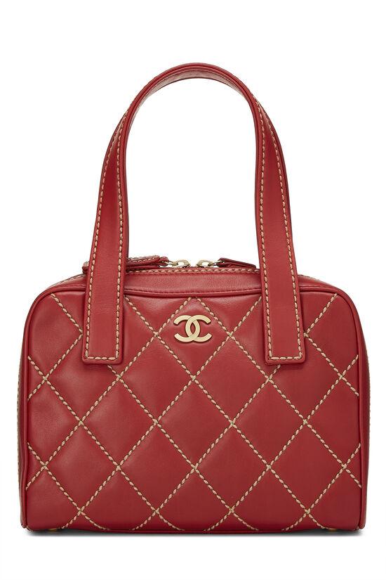 Red Leather Wild Stitch Boston Handbag, , large image number 0