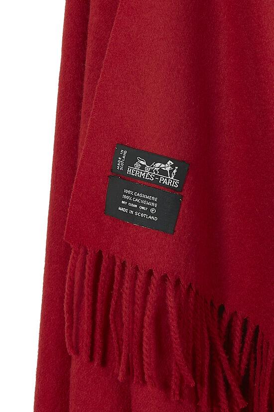 Red Cashmere Fringe Stole, , large image number 1