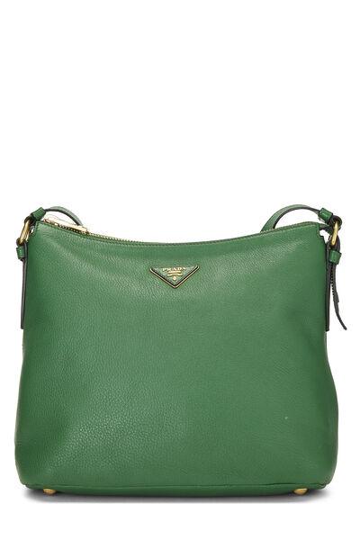 Green Vitello Daino Shoulder Bag