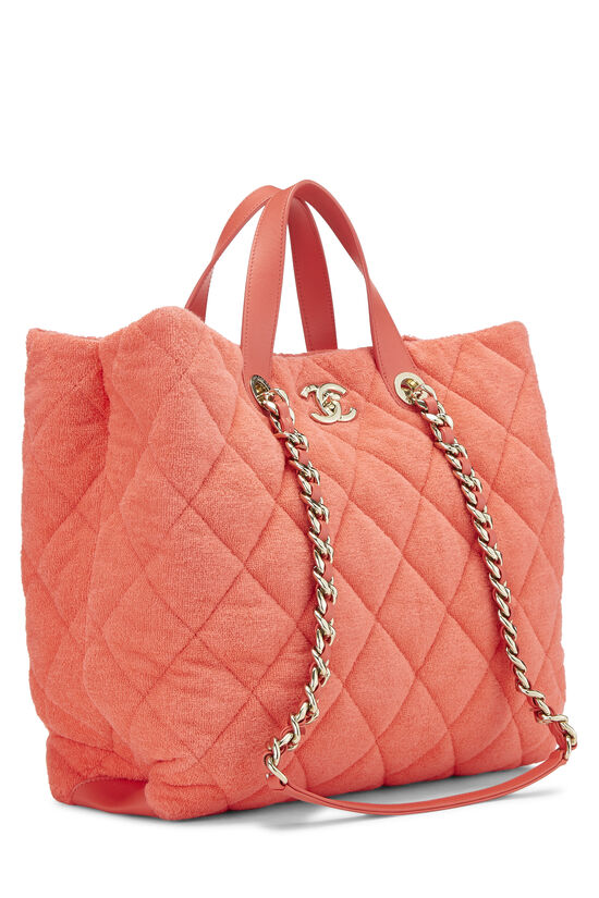 Orange Terry Cloth Coco Beach Shopping Bag, , large image number 2