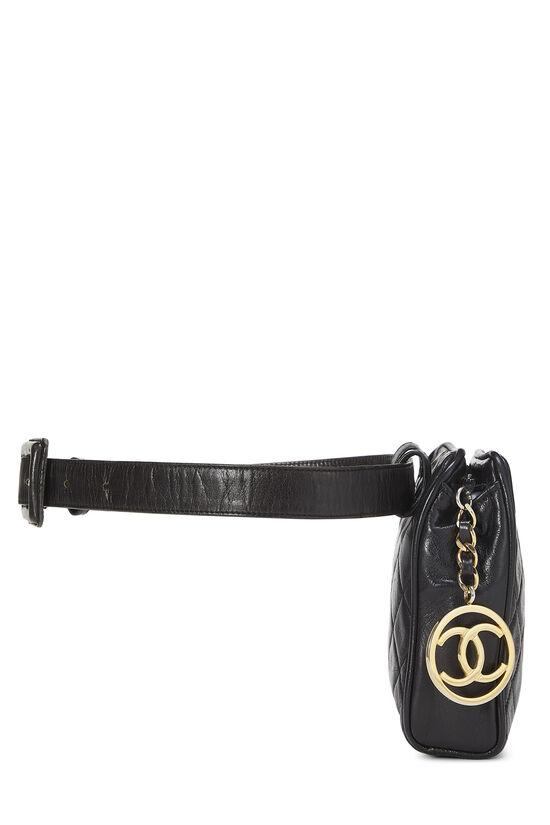 Black Quilted Lambskin Belt Bag 30, , large image number 2