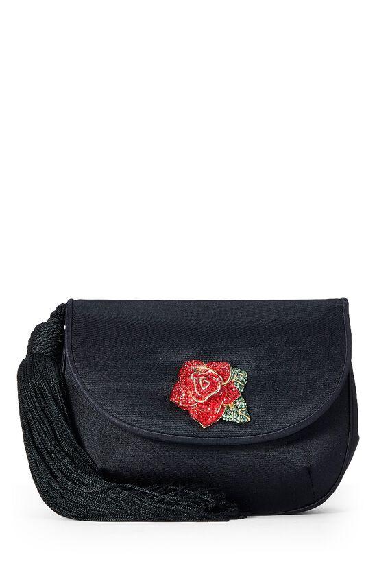 Black Satin Floral Embellished Shoulder Bag, , large image number 0