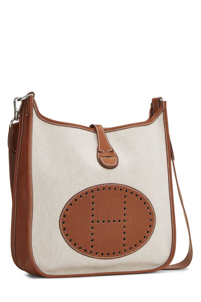 Brown Leather & Natural Toile Evelyne I PM, , large