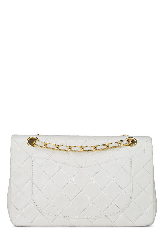 White Quilted Lambskin Classic Double Flap Small, , large image number 3