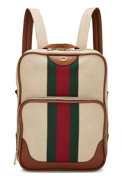 Beige Canvas Web Backpack