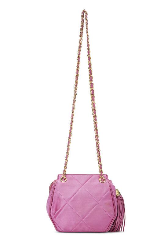 Pink Quilted Satin 'CC' Shoulder Bag Mini, , large image number 3