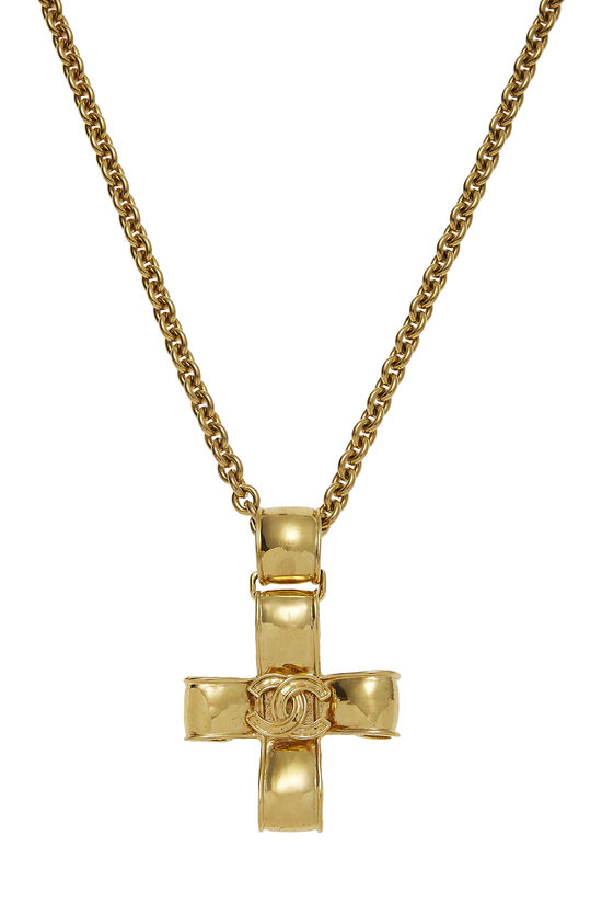 Gold Ribbon Cross Necklace, , large image number 1