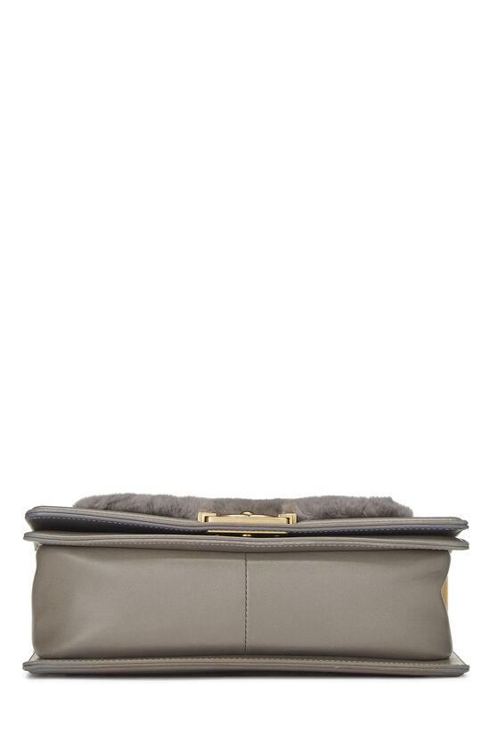 Grey Fur & Calfskin Boy Bag Medium, , large image number 5