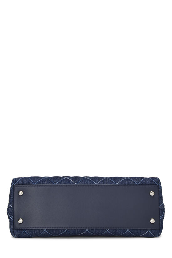 Blue Quilted Denim Coco Handle Bag Small, , large image number 5