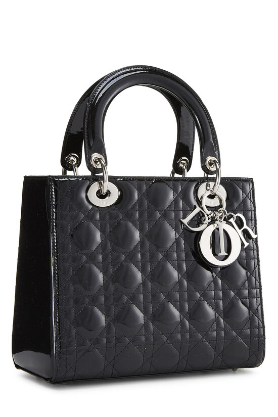Black Cannage Quilted Patent Leather Lady Dior Medium, , large image number 2