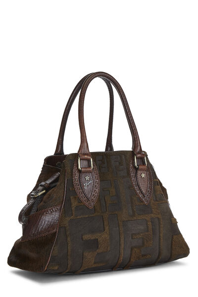 Brown Zucca Pony Hair Bag Du Jour Small, , large
