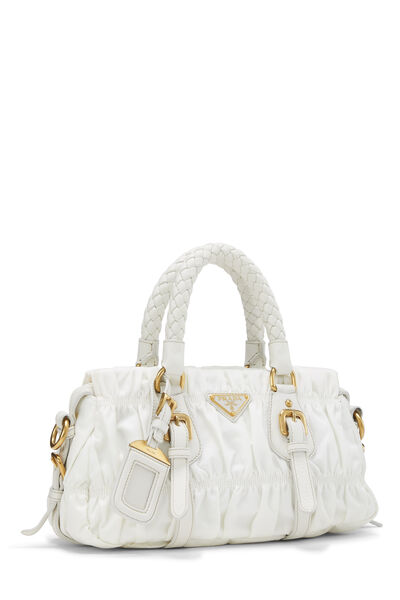 White Tessuto Gaufre Shoulder Bag Small, , large