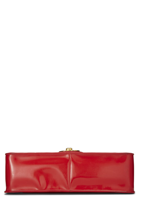 Red Quilted Vinyl Half Flap Maxi, , large image number 4