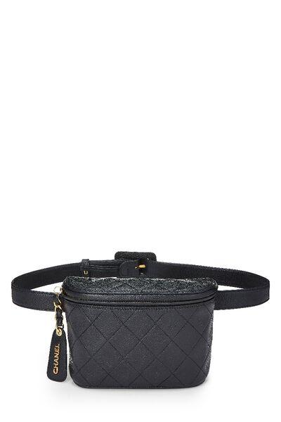 Black Quilted Caviar Belt Bag