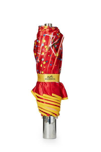 Red Nylon Dot Motif Umbrella, , large