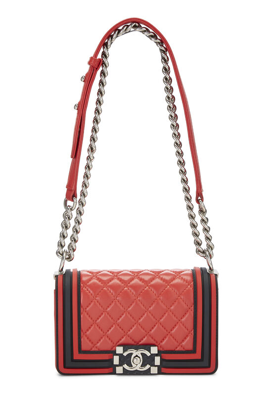 Red Quilted Lambskin Rubberized Boy Bag Small, , large image number 1