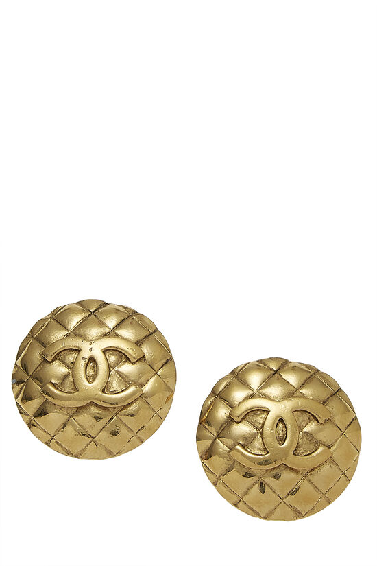 Gold Quilted Round Earrings Large, , large image number 0
