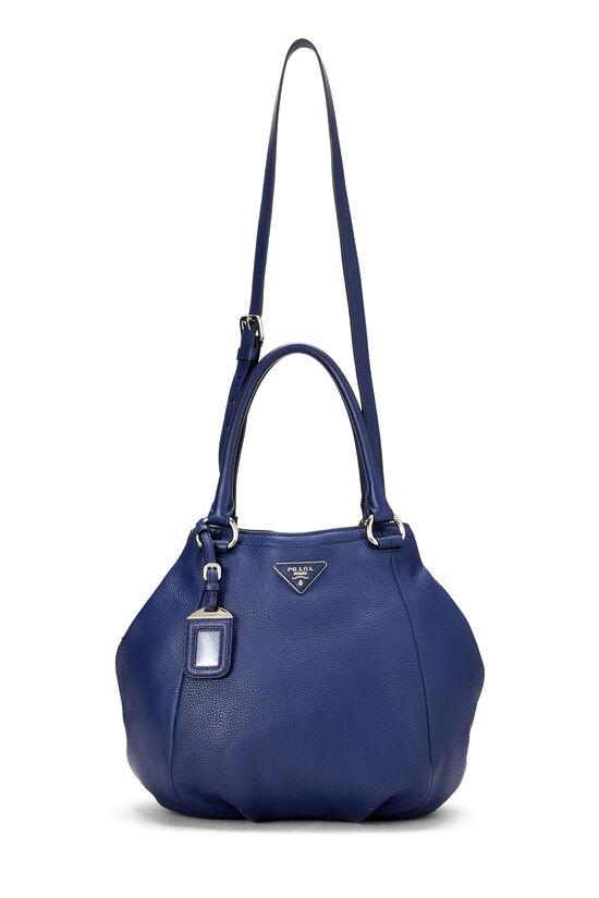 Blue Vitello Daino Shoulder Bag, , large image number 6