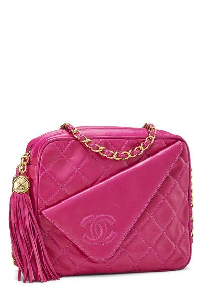 Pink Lambskin Diagonal Camera Bag Small, , large